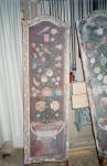 Skærmbræt Tempra på lærred – Snavset, renset, skader retoucheres og ny overflade.