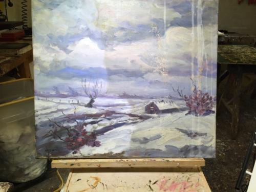 10 Vandskadet maleri..Før     Påbegyndt rensning