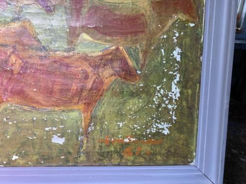 Maleri slemt afskallet, før restaurering.